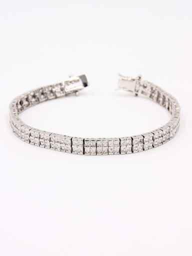 Model No A0000418H-002 Platinum Plated Copper Zircon White Bracelet