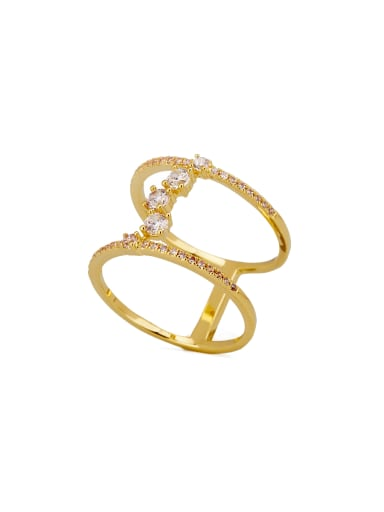 Blacksmith Made Gold Plated Zinc Alloy Zircon Charm Stacking Stacking Ring