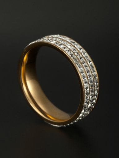 Stainless steel Rhinestone Gold band ring  6-8#