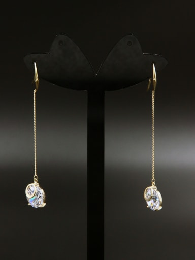 Model No LYE-399142B-002 Custom White chain Drop drop Earring with Gold Plated