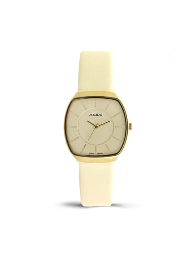 Fashion Yellow Alloy Japanese Quartz Square Genuine Leather Women's Watch 24-27.5mm