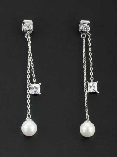 New design Platinum Plated Round Pearl Drop drop Earring in White color
