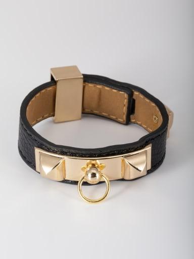 Personalized Gold Plated PU Black Square Bangle