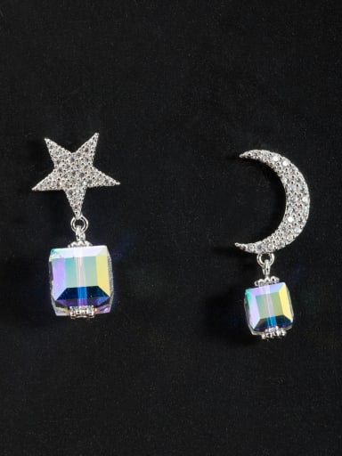 Custom Silver Star Drop drop Earring with Platinum Plated