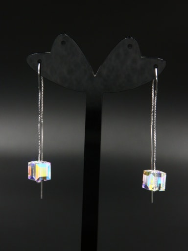 New design Platinum Plated Square Zircon Drop drop Earring in Silver color