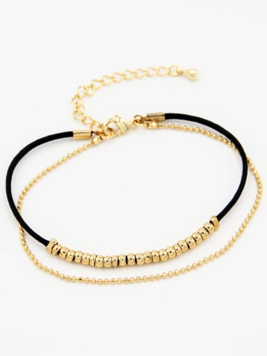 Black Round Bracelet with Gold Plated