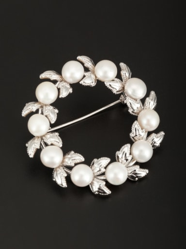 Platinum Plated Round White Pearl Beautiful Lapel Pins & Brooche