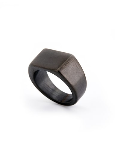 Blacksmith Made Gun Color plated Titanium Square Band Signet Ring