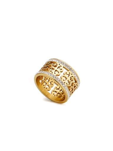 New design Gold Plated Stainless steel  Band band ring in Gold color