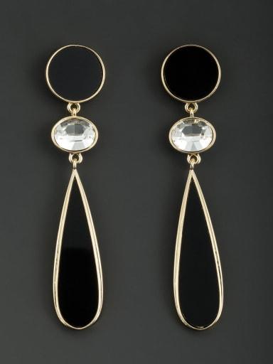 Gold Plated Round White Rhinestone Beautiful Drop drop Earring