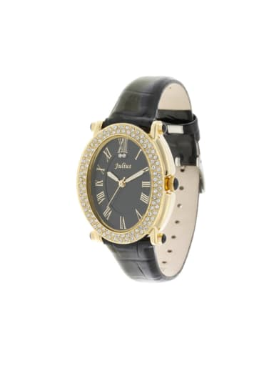 Model No A000470W-002 Fashion Black Alloy Japanese Quartz Round Genuine Leather Women's Watch 24-27.5mm
