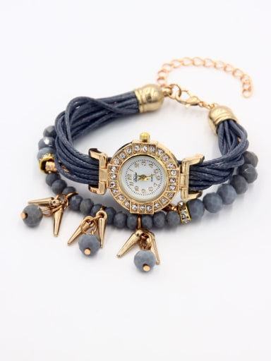 Model No 1000003221 24-27.5mm size Alloy Round style Faux Leather Women's Watch