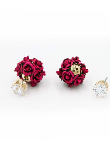 Red Flower Drop drop Earring with Copper Zircon