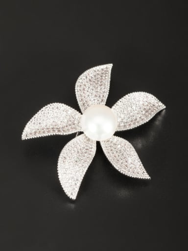 White Flower Lapel Pins & Brooche with Platinum Plated Pearl