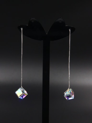 Silver Geometric Drop drop Earring with Platinum Plated Zircon