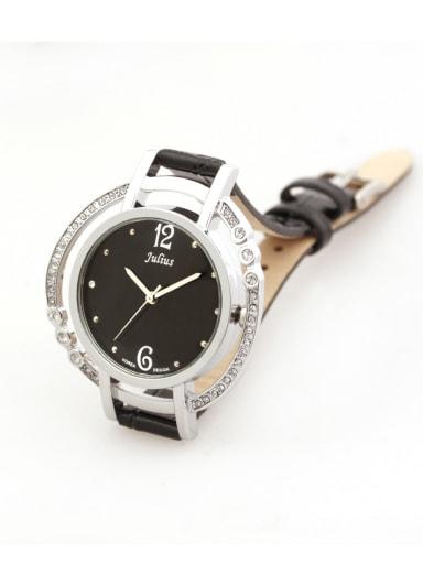 New Genuine Leather Band Japanese Quartz Round Black Women's Watch