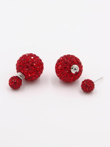 Red Round Youself ! Copper Swarovski Crystals  Studs stud Earring