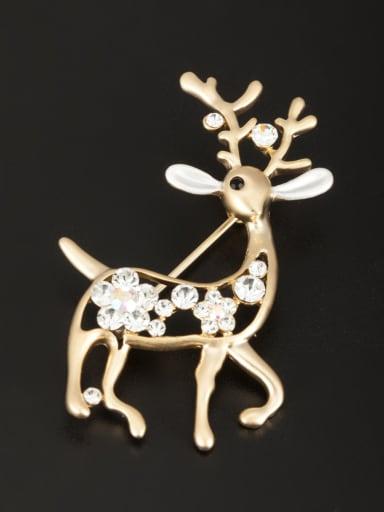 Animal Motif Gold Plated Rhinestone White Lapel Pins & Brooche