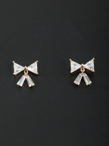 White Geometric Youself ! Gold Plated Zircon Studs stud Earring