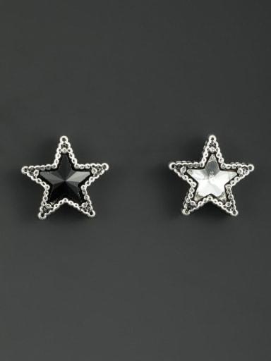Silver-Plated Star Black Zircon Beautiful Studs stud Earring