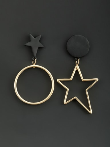 Black color Gold Plated Star Drop drop Earring