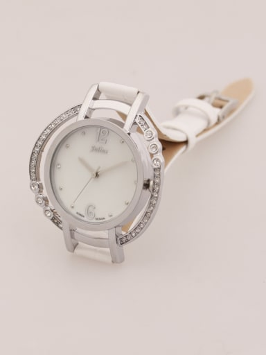 Model No 1000003293 Fashion White Alloy Japanese Quartz Round Genuine Leather Women's Watch 24-27.5mm