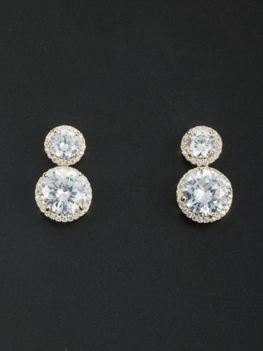 Gold Plated Round Zircon White Drop drop Earring