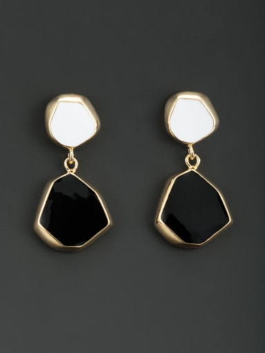 Personalized Gold Plated Black Geometric Acrylic Drop drop Earring