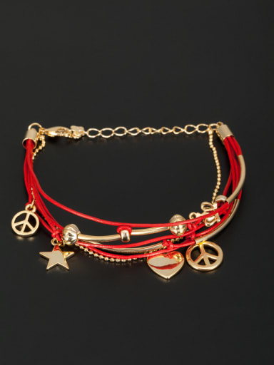 Personalized Gold Plated Red Heart Bracelet