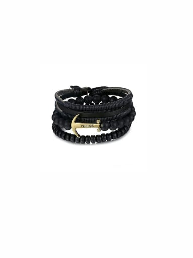 Mother's Initial Black Bracelet with Charm Beads