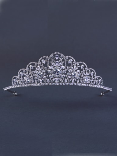 Custom White Wedding Crown with Platinum Plated