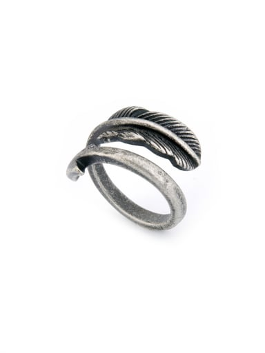 Personalized Silver-Plated Titanium Silver Feather Band band ring