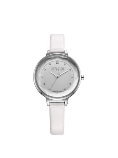 Model No A000460W-002 Fashion White Alloy Japanese Quartz Round Genuine Leather Women's Watch 24-27.5mm
