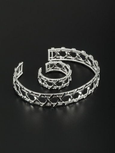Geometric Platinum Plated White Bangle
