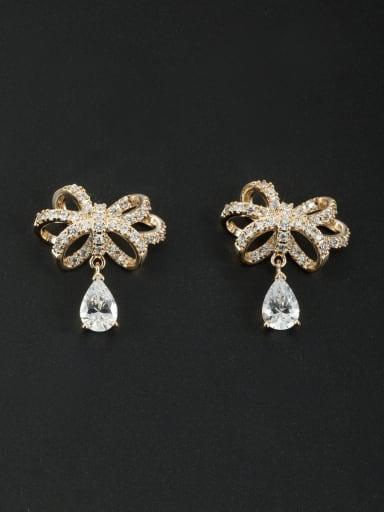 Flower Gold Plated Zircon White Drop drop Earring