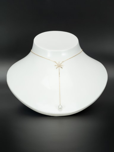 White Star Necklace with Gold Plated Zircon