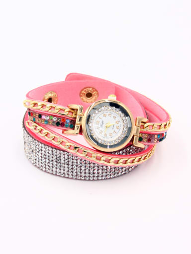Fashion Pink Alloy Quartz Round Faux Leather Women's Watch 24-27.5mm