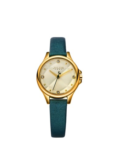 Fashion Green Alloy Japanese Quartz Round Genuine Leather Women's Watch 24-27.5mm