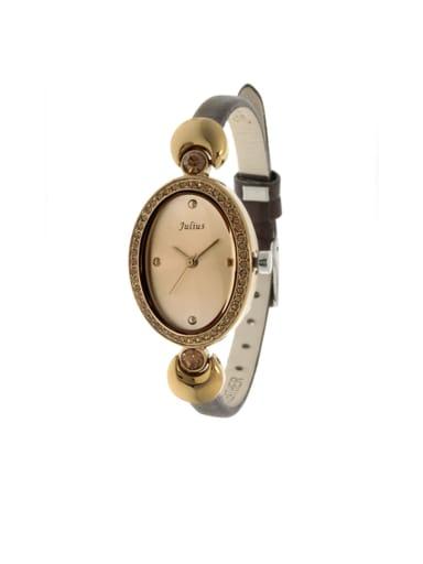 Fashion Black Alloy Japanese Quartz Oval Genuine Leather Women's Watch 23.5mm & Under