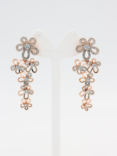 Statement style with Rose Plated Rhinestone Drop drop Earring