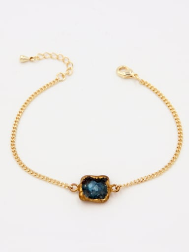 New design Gold Plated Personalized Aquamarine Bracelet in  color