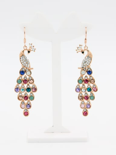Personalized Rose Plated Multi-Color Animal Motif Rhinestone Studs drop Earring