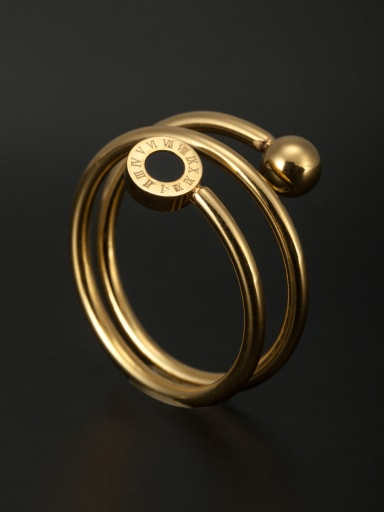 Round Stainless steel Beads Gold Stacking Ring  6-9#