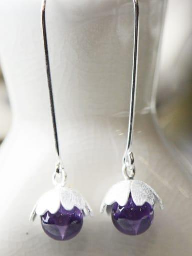 Purple Youself ! Silver Amethyst Drop drop Earring