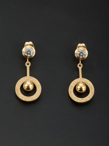Gold color Stainless steel Round Rhinestone Drop drop Earring
