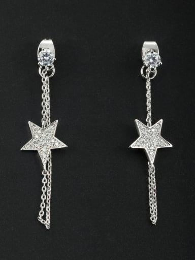 A Platinum Plated Stylish Zircon Drop drop Earring Of Star