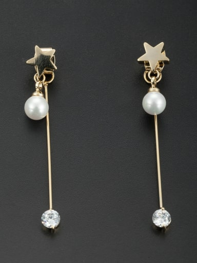 Star style with Gold Plated Pearl Drop drop Earring