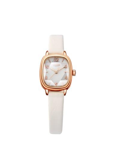 Model No A000483W-004 Fashion White Alloy Japanese Quartz Square Genuine Leather Women's Watch 24-27.5mm