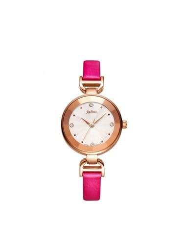 Fashion Pink Alloy Japanese Quartz Round Genuine Leather Women's Watch 28-31.5mm