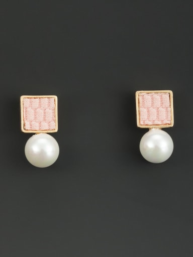 New design Gold Plated Round Pearl Drop drop Earring in White color